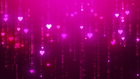 Glamor rain. Romantic pink background with shiny hearts. Symbol of love. Valentine's card. 3D Animation