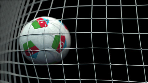 Ball with flags of Azerbaijan hits goal. 3D animation Live Action