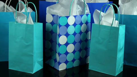 Dolly Past Colorful Gift Bags Footage