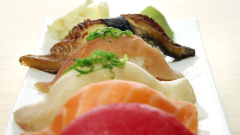 Close-Up Of A Plate Of Sushi Footage