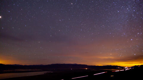 Road Stars Night Sky Time Lapse Footage