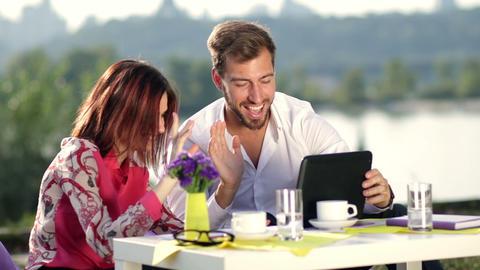 Businesspeople having online meeting using tablet Footage
