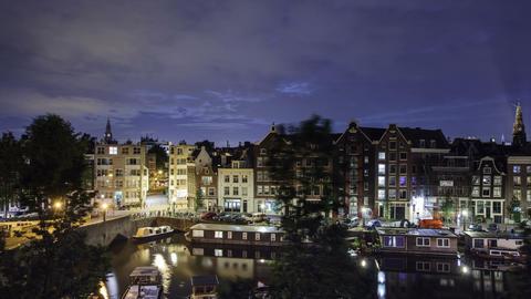 Amsterdam Night Time Lapse Footage