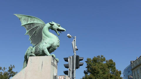 view of the dragons bridge in Ljubljana Live Action