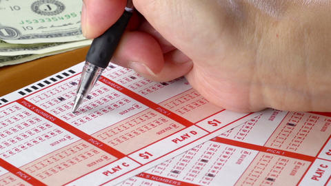 Filling Out Lottery Tickets Macro Footage