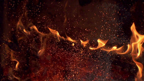 Fireplace Fire Burning Sparks Stock Video Footage