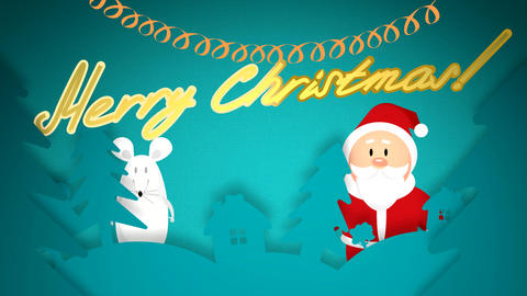 Merry christmas with santa claus Animation