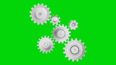 Gears fly out on a green background Animation