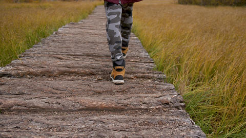 Man Walking Feet on Forest Road in Activities Travel Hike on Mountains Travel Live Action