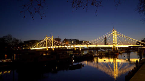 illuminated Albert Bridge London in the evening - LONDON, ENGLAND - DECEMBER 10 Live Action