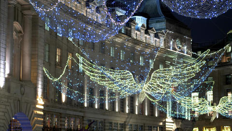 holiday decoration of Regent Street London - LONDON, ENGLAND - DECEMBER 10, 2019 Live Action