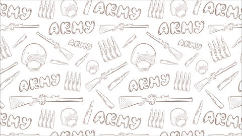 Army objects on white background Animation