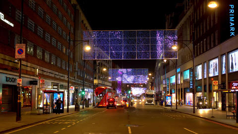 Christmas Street decoration at Oxford Street London - LONDON, ENGLAND - DECEMBER Live Action