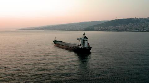Merchant ship in the black sea. Dry cargo ship. 4K drone shooting Live Action