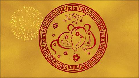 Lunar New Year, Spring Festival background with golden foil, rat, fireworks Animation