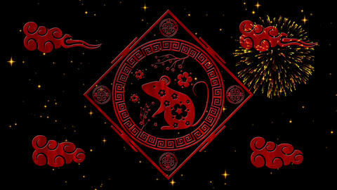 Lunar New Year, Spring Festival background with rat simbol, fireworks Animation