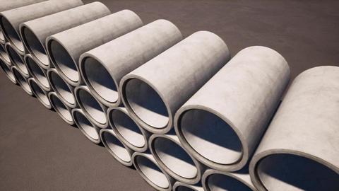 3d construction of concrete rings for site design. Construction building Live Action