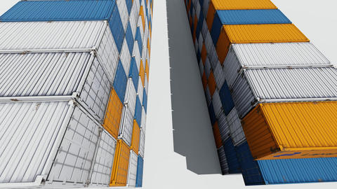 Cargo containers on white background. Container 3d illustration. Cargo ship Live Action