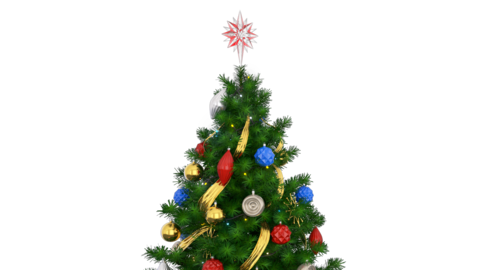 Rotating Christmas Tree 3d render footage Alpha Animation