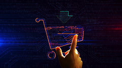 Shopping cart symbol futuristic enetry into cyberspace animation Animation