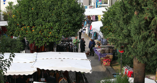 Clothes Stalls At The Market In France Live Action