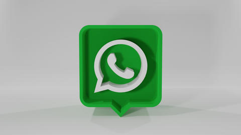 Icon Whatsapp pin animation. Speech Bubble rotation animation in 3D - 4K Animation