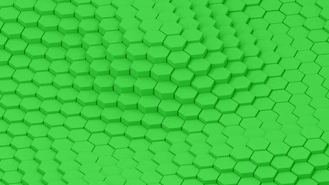 Surface with moving hexagonal green pillars animation background CG動画