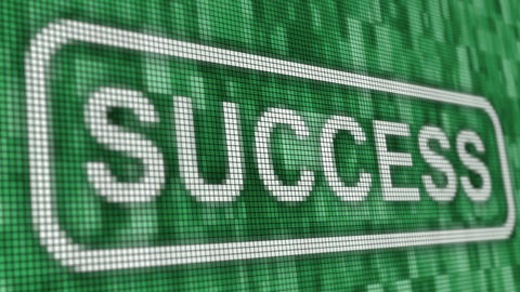 Success message pixel computer screen animation closeup Animation