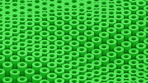 Surface with moving green cylinders animation background closeup Animation