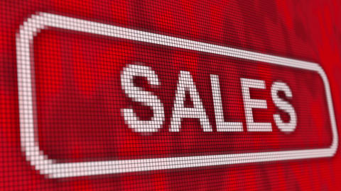 Sales message pixel computer red screen animation close up Animation