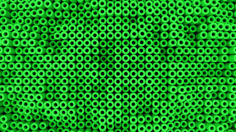 Surface with moving green cylinders animation background Animation