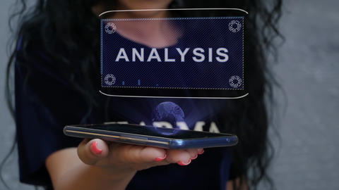 Woman showing HUD hologram Analysis Live Action