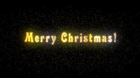 Alpha channel. Congratulatory Christmas video card. Decorative golden title, particles. Artistic Animation