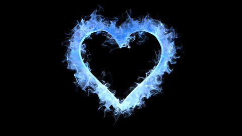 Blue color flame heart shaped Valentine's Day love card copy space 60fps Animation