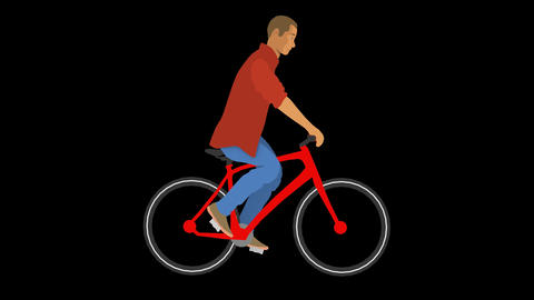Vector Man Cycling Animation
