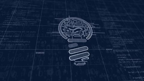 New idea concept with bulb symbol futuristic sketch Animation