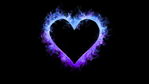 Blue purple color flame heart shaped Valentine's Day love card copy space 60fps Animation