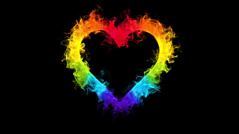 Multicolored flame heart shaped Valentine's Day love card copy space 60fps Animation