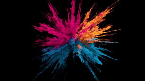 Pink orange blue Color Burst smoke powder explosion fluid ink particles alpha Animation