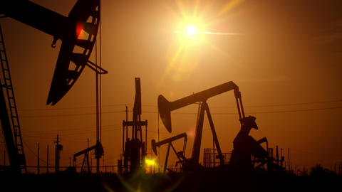 Oil Wells At Sunrise Footage