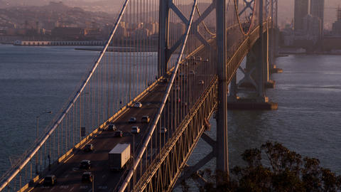 San Francisco's Bay Bridge Twilight Footage