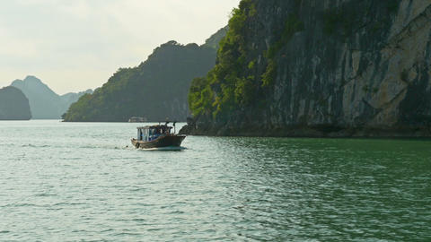 Tropical Islands of Halong Bay Vietnam Footage