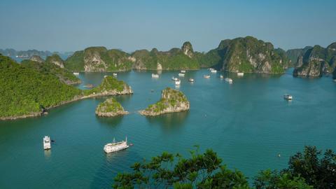 Tropical Islands of Halong Bay Vietnam Footage