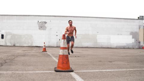 Athletic Male Workout Crossfit Slow-Motion Footage