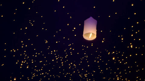 Sky Lanterns Fly Into The Night Sky Live Action