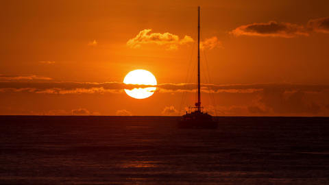 Sunset Time-Lapse Ocean Sailboat Footage