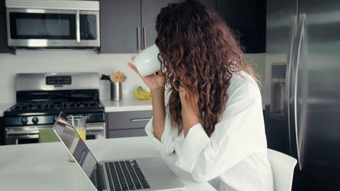 Woman Drinking Coffee Morning Footage