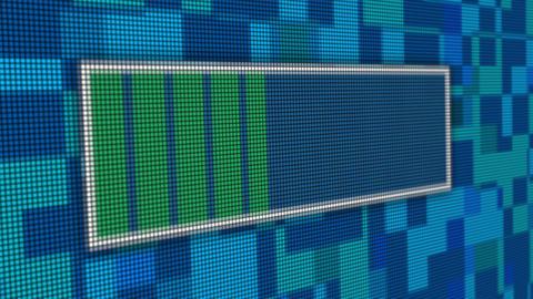 Upload progress bar pixel computer screen animation close up Animation