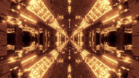 endless glowing lights on futuristic sci-fi hangar tunnel corridor with nice Animation
