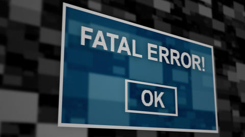 Fatal error message pixel computer screen animation close up Animation